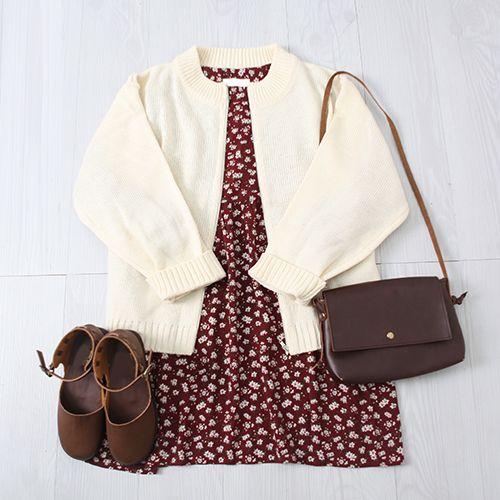 Korean fashion - red floral dress, beige cardigan, brown shoes and brown messenger bag