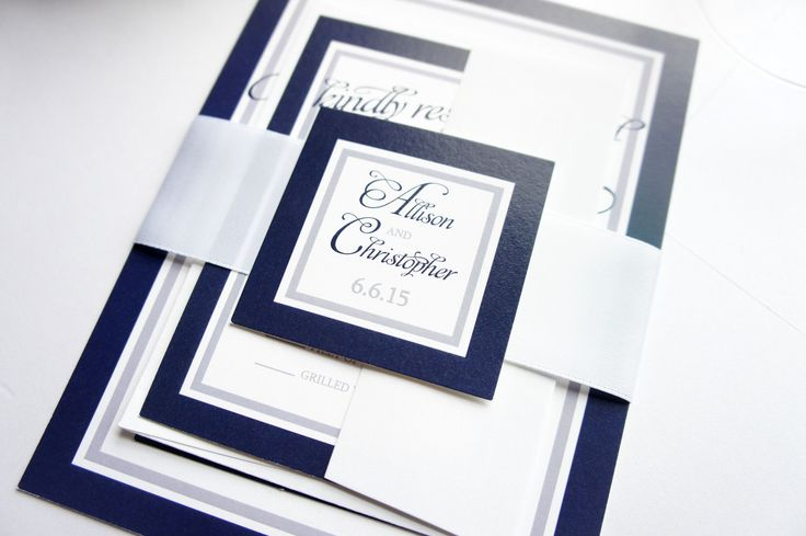 View our navy blue wedding invitation by