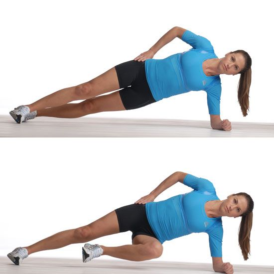 Core Workouts - pic is side plank with march.