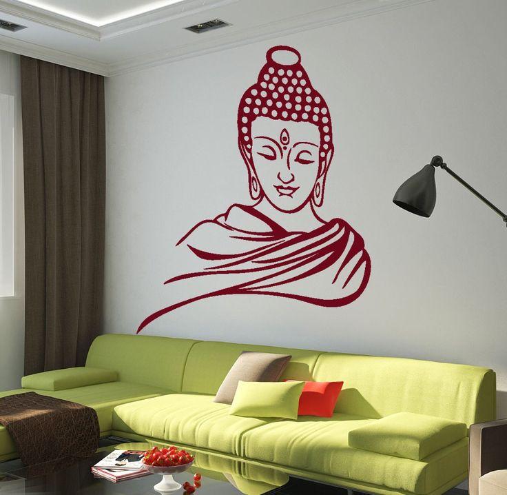 DSU Hiqh Quality Vinyl Paper Wall Stickers HomeDecal Buddha Buddhism Nirvana Yoga Wall Sticker Home Decor Living Room Mural A-78