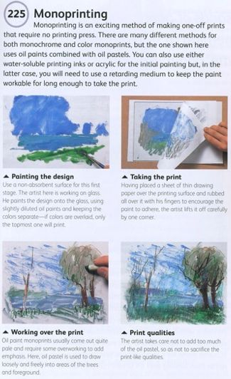 monoprinting and painting and pastels