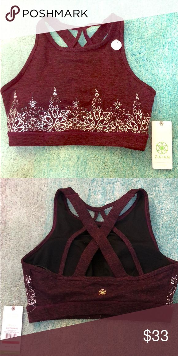 Gaiam Carmen Bralette in pickled beet heather Brand new, never worn yoga bra from Gaiam - Beautiful designs on the bra shimmers a tiny bit. It's more of a dark maroon color. Super comfortable, has padding (medium support) gaiam Intimates & Sleepwear Bras #yogabra