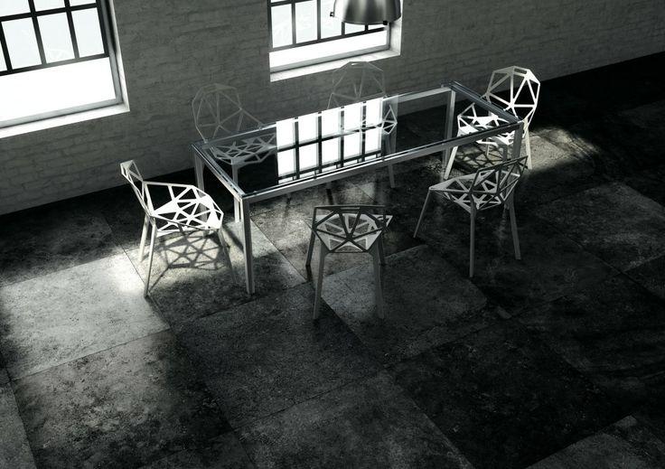 HIer wordt de tegel gecombineerd met klassieke meubelen.