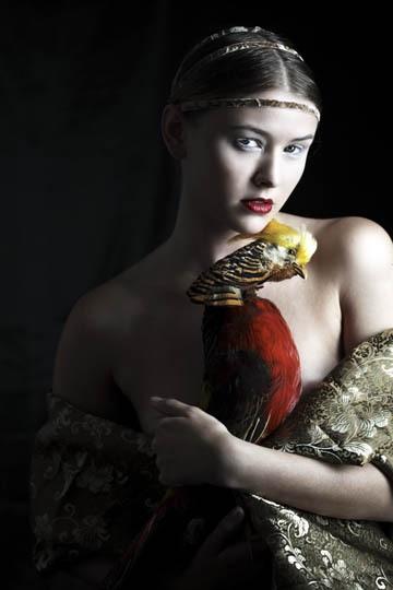Photography by Formento+Formento © Parrots and medieval fashion http://www.trafficnyc.com/portfolio/formentoformento-fashio