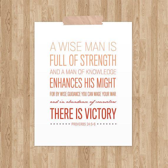 Proverbs 24:5-6  Bible Verse Art  Scripture by NotBySightDesign