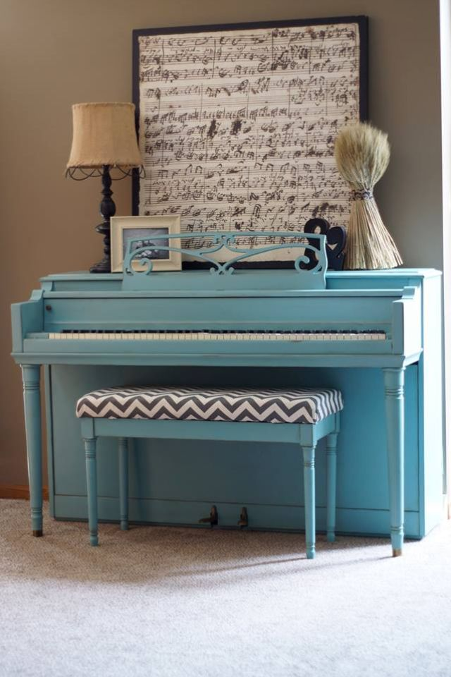 Painted piano. Annie Sloan chalk paint Provence with dark wax....I want this look right down to the chevron piano bench..perfect