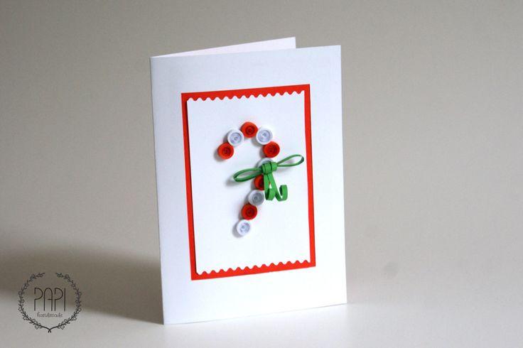 Świąteczna kartka ręcznie robiona Bożonarodzeniowa handmade z lizakiem quilling