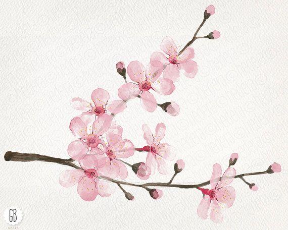 Watercolor cherry blossom cherry tree sakura от GrafikBoutique