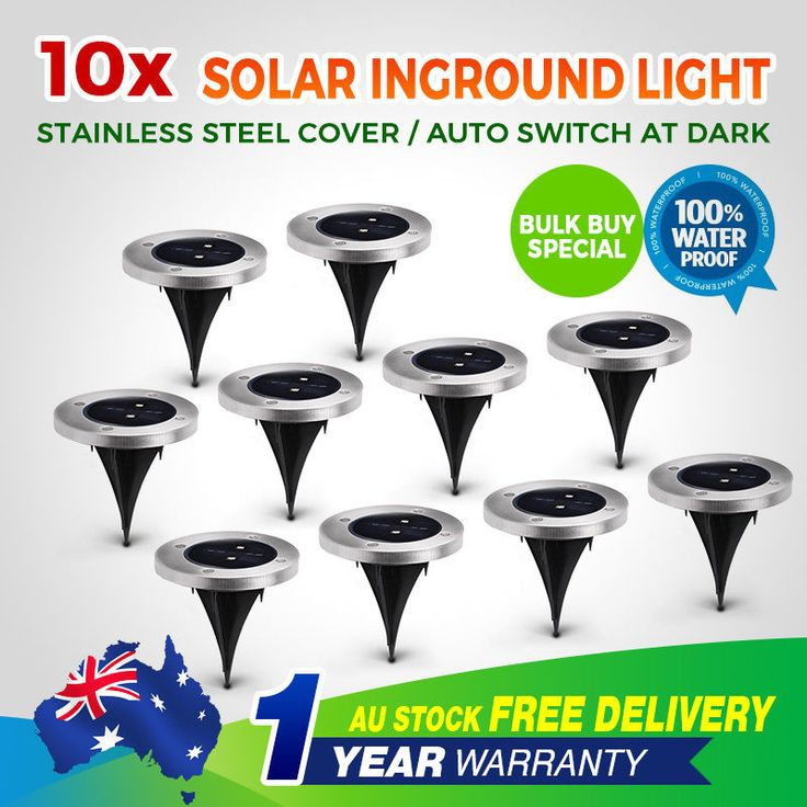 10pcs solar powered led buried inground recessed lights garden outdoor deck path clsaled