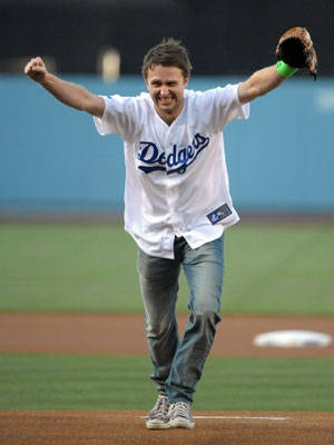 Actor and comedian Chris Hardwick reacts after throwing out the first pitch before the game between the Cincinnati Reds and the Los Angeles Dodgers at #DodgerStadium on July 2, 2012.  http://celebhotspots.com/hotspot/?hotspotid=6452&next=1