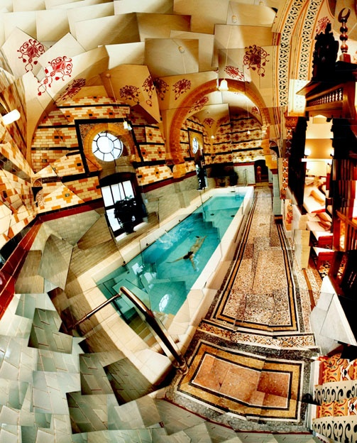 """The Turkish Baths are the place to unwind in the same way that society did in the 19th century, though with a few modern alterations and luxuries. Restored in 2004, the baths are one of the most historically complete of their kind remaining in Britain. With a Moorish design, the Islamic arches, decorated pillars, glazed brickwork walls, painted ceilings and terrazzo floors are a work of art."" Slow Travel Yorkshire Dales; www.bradtguides.com"
