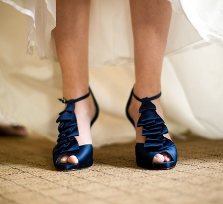 Navy Blue Wedding Shoes With Ruffle These Are Cuteplease Don