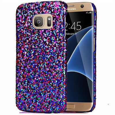 Luxury Glitter hard Case Bling Phone Cover Silver Gold Pink Thin shell skin Coque Funda Capa For Samsung Galaxy S7 edge