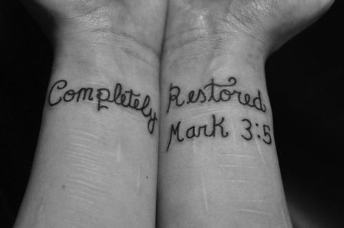 "Even though I'm not religious, that is what the scars on my forearm look like, and ""completely restored"" a perfect description of how I feel."