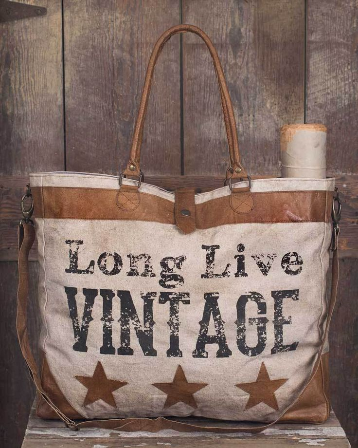 Long Live Vintage Tote Bag Large Canvas Leather Backroads Collection in Clothing, Shoes & Accessories, Women's Handbags & Bags, Handbags & Purses | eBay