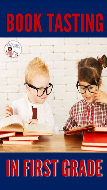 A blog post with a FREEBIE about doing a book tasting for with first graders. Encourage your first grade students to experience various reading genres by having a book tasting. Students sample books in various genres in a cafe themed setting. Link provide