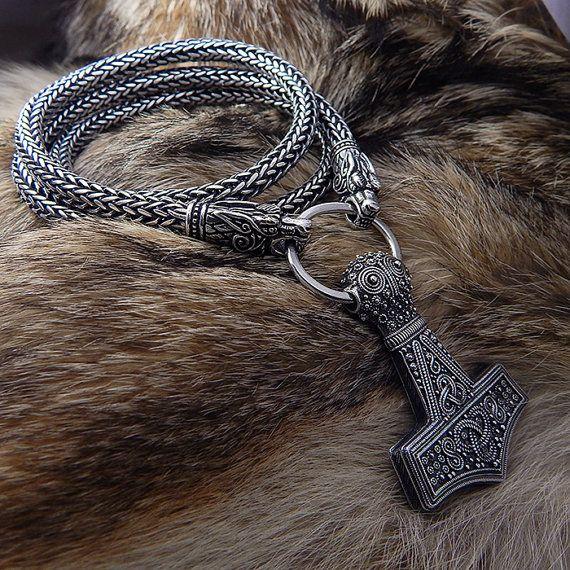 Viking Necklace Thors Hammer. Replica Bredsatra. Thor's Mjöllnir. Sterling Silver heads of wolves, ravens, lions or bears. Viking Pendant.