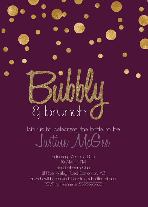 Printable Purple and Gold Champagne Brunch by glassslipperdesigns