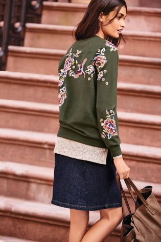 Embroidery heaven with our NEW khaki sweater!