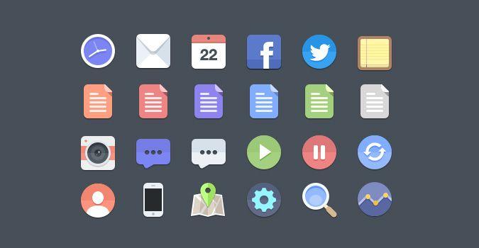 Flat Icons Set Free PSD