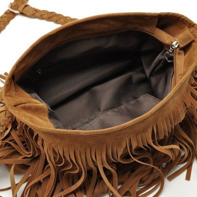 Stylish Weaving and Fringe Design Women's Crossbody Bag
