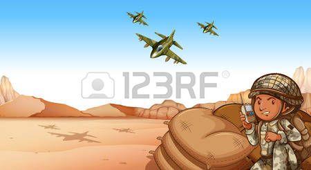 soldier cartoon: Soldier talking on radio at the war zone