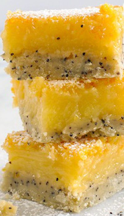 Meyer Lemon Bars with Poppyseed Crust. I halved the recipe bc I didnt have enough eggs and I used less sugar..just about 1 cup. Awesome! Dissapeared at work...