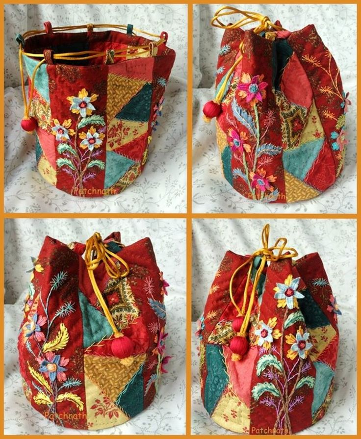 This lovely crazy quilt bag features a great colour scheme and lots of different embroidery techniques. A bag is a great project to try out all sorts of techniques because there are no rules - you make things as interesting as you like. Image courtesy of http://patchnath.canalblog.com/archives/2014/05/13/29866101.html