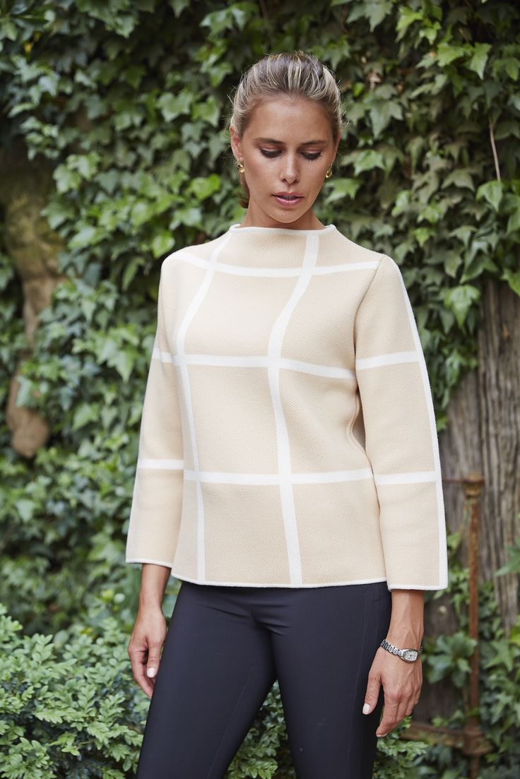Lady Kate High Boat Neck Sweater in Beige & White Check.  Women's knitwear made from Australian Merino wool.  www.ladykate.com.au