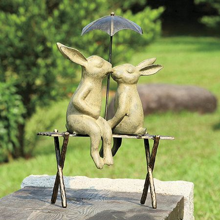 Bunny Lover on a Bench Statue