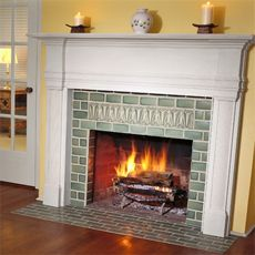 a finished tiled fireplace surround