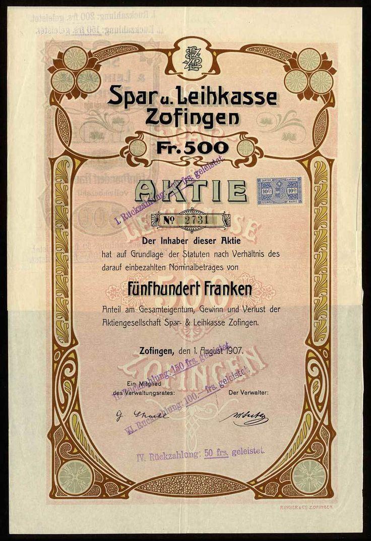 (x) Spar u. Leihkasse Zofingen, Aktie über 500 Franken. Zofingen, 1. August 1907. #2731. Schöner Jugendstil / Art Deco-Druck, VF