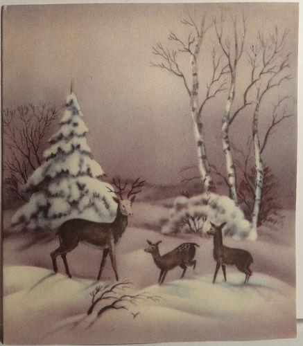 Beautiful Vintage Deer in the Snowy Woods Christmas Card
