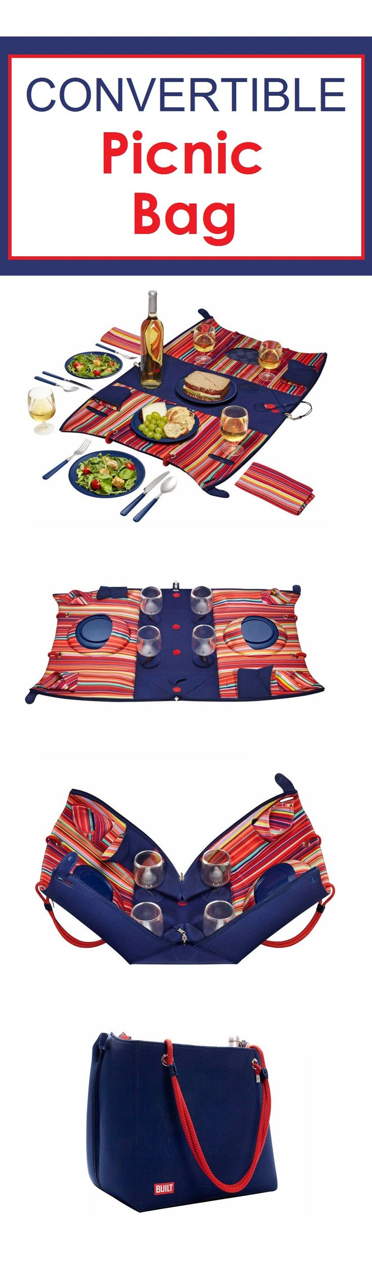 Bring this Convertible Picnic Bag to the park, the beach, or enjoying a backyard BBQ. This bag has everything you need to make entertaining a breeze. This compact bag includes wine glasses, plates, flatware, a corkscrew, a bottle opener, and napkins for a party of 4. Plus, there's even a place to keep wine bottles secure.