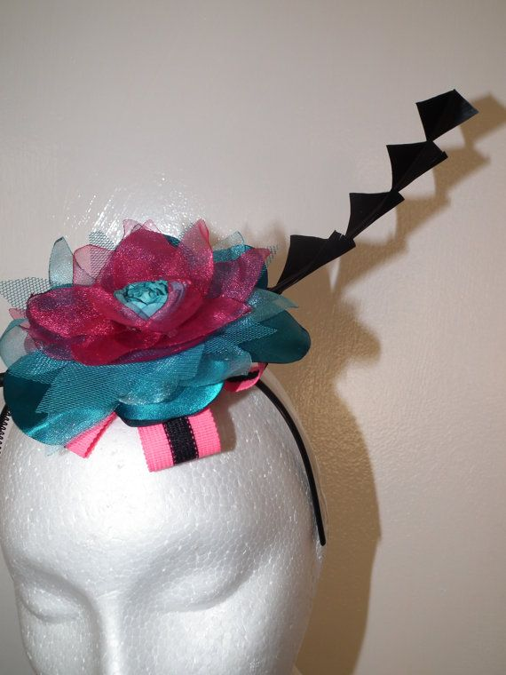 Funk Supreme ..stylish and chic jaggered millinery pink blue black  raceday hat by WattMillineryBling, $114.00