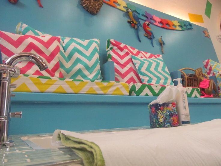 Tropical Popical Nail Bar. Cushion fabric from CLOTH Dublin