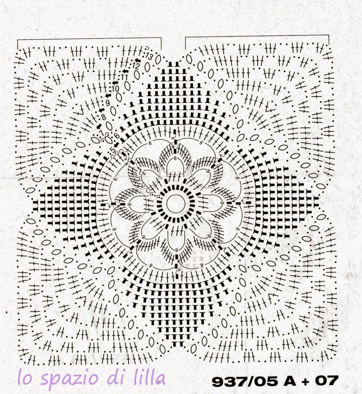 Schema uncinetto - Mattonella per copriletto   Hobby lavori femminili - ricamo - uncinetto - maglia