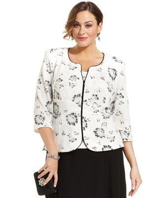 Alex Evenings Plus Size Jacket Set, Three-Quarter-Sleeve Floral-Print