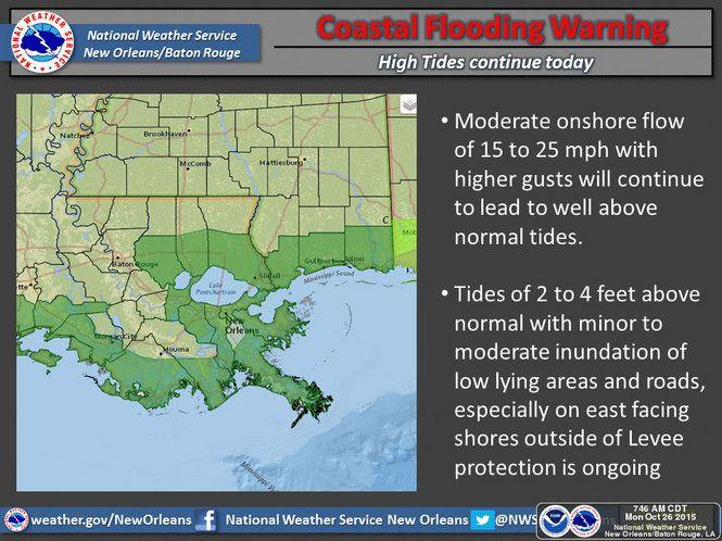 Coastal flood warning in effecd until 7 p.m.