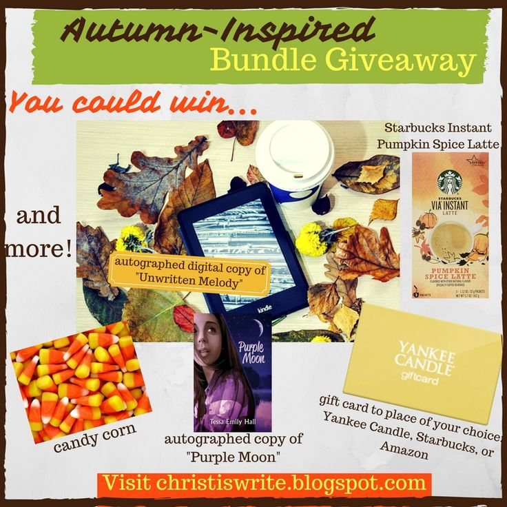 Autumn-Inspired Bundle Giveaway! #autumn #fall #fallgiveaway #giveaway #giftcard #kindle #amazon #purplemoon #pumpkinspice #candycorn #yankeecandle #starbucks #unwrittenmelody #yalit #yalitchat #chrisfic #yacontemporaryromance