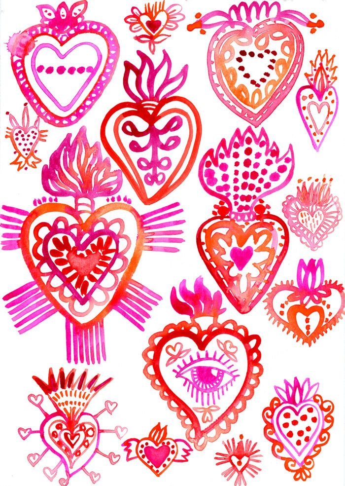 Klika Design sketchbook challenge. February 2016 - Pink Red Sketches. Follow my creative journey, through pages of my sketchbook.