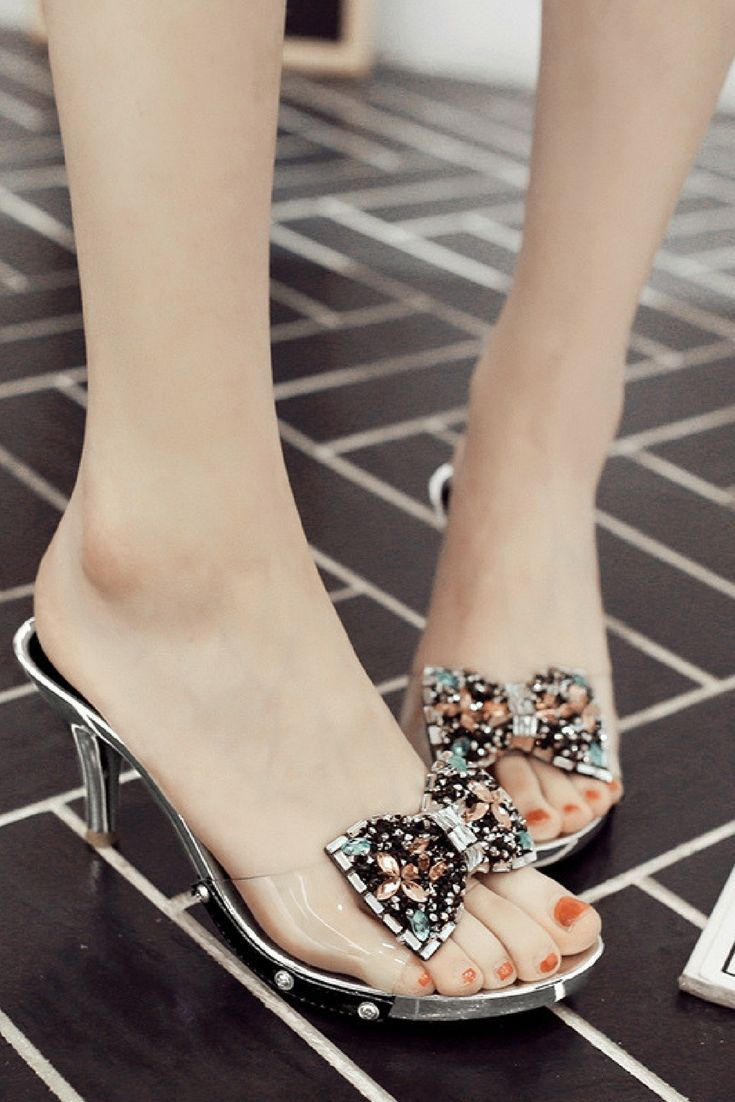CHIC Women Rhinestones Bow Knot Flip Flops Med Block Heel Slippers Mules SHOES