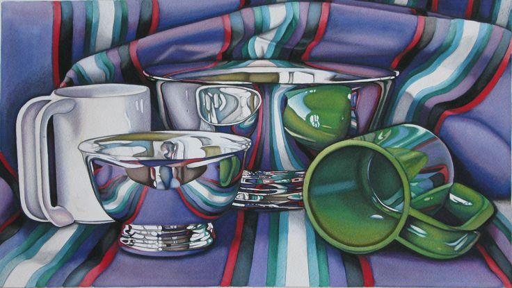 Jeanette Pasin Sloan / Green Cup / Gouache & Watercolor / 10.5x18