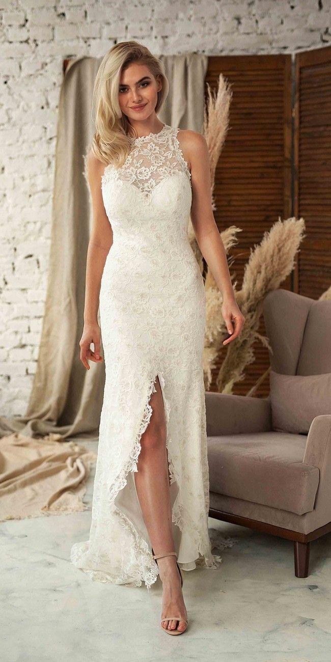 The Best 15 Etsy Bohemian Wedding Dresses Wedding Dresses Halter Wedding Dress Lace Halter Wedding Dress [ 1300 x 650 Pixel ]