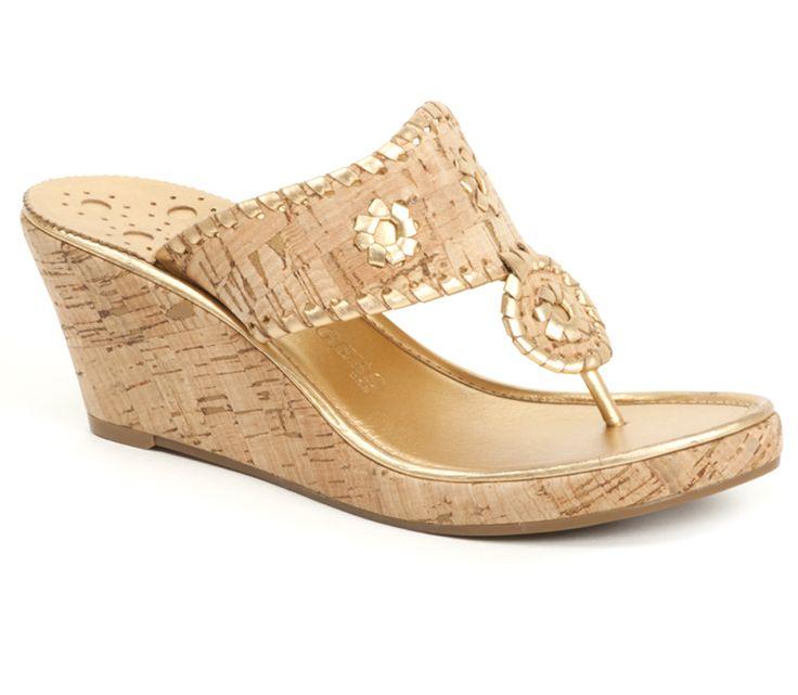#JackRogers Marbella Mid Wedge Sandal in Natural Cork / Gold #lovemyjacks