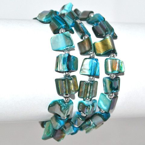 Metallic Mermaid - Teal shell bracelet – Jc & Crew