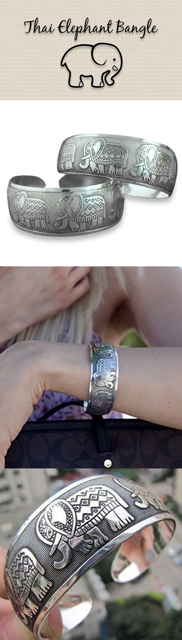 This beautiful Thai Five Elephant bangle will match any outfit and can be dressed up or down. This bracelet features an open design and can fit all wrist sizes. Comes in a velvet pouch.