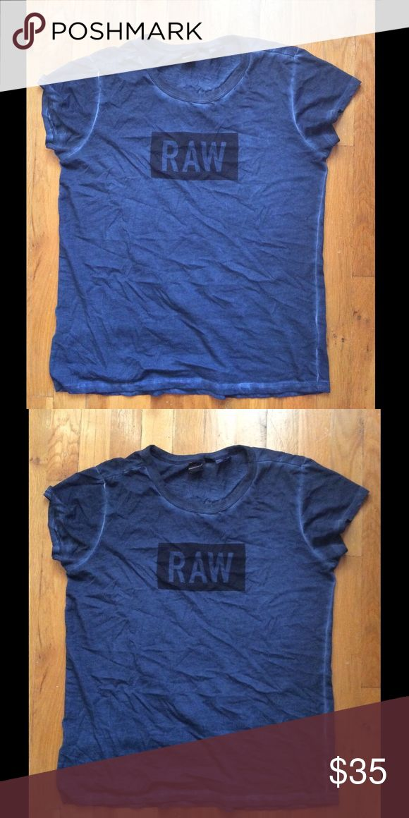 100% Authentic GStar Raw Tshirt Womens Blue Graphic G star Raw Shirt🔹 Watermark designs🔹Size Small🔷 OFFERS are ACCEPTABLE 🙃 Tops Tees - Short Sleeve