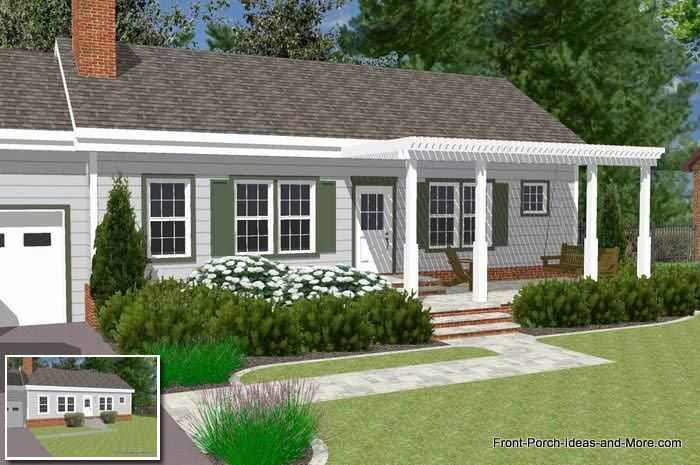 Great front porch designs illustrator on a basic ranch for Back porch ranch