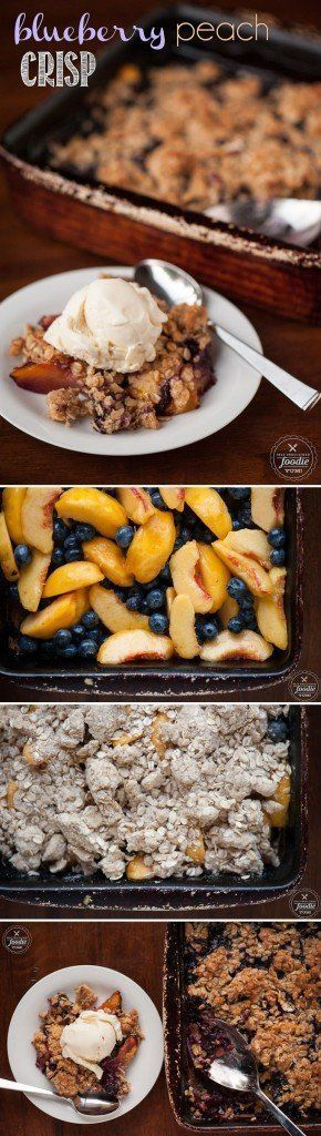 Eating Blueberry Peach Crisp for dessert is just like eating the most delicious oatmeal cookie you've ever had with the added benefit of warm summer fruit!